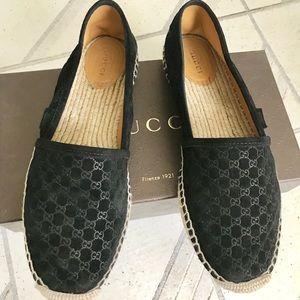 Gucci espadrilles GG printed suede 41 black